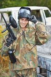 Portrait of Man paintball player Stock Images