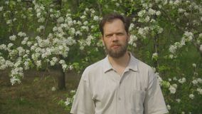Portrait of a man in the Park stock footage