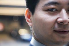 Portrait of man in a parking garage, close-up, Beijing Stock Image