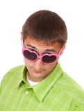 Portrait of a Man in pink sunglasses funny Stock Image