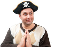 Portrait of a man in a pirate hat. On a white background Stock Images