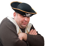 Portrait of a man in a pirate hat. On a white background Royalty Free Stock Photos