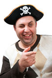 Portrait of a man in a pirate hat. On a white background Royalty Free Stock Images