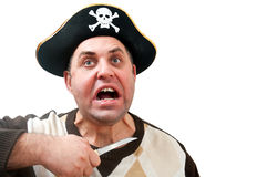Portrait of a man in a pirate hat. On a white background Royalty Free Stock Image