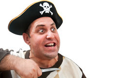 Portrait of a man in a pirate hat. On a white background Stock Photos
