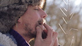 Portrait of a man playing a harp. The bearded shaman plays the harmonica drymba. Face closeup with a musician Jew`s Harp. Face close up with a musical stock footage