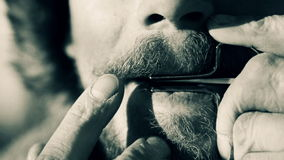 Portrait of a man playing a harp. The bearded shaman plays the harmonica drymba. Face closeup with a musician Jew`s Harp. stock footage