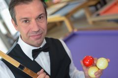Portrait man before playing snooker Stock Photos
