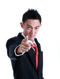Portrait of man pointing with his finger Stock Image