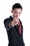 Portrait of man pointing with his finger Royalty Free Stock Photo