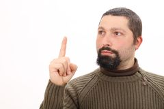 Portrait of a man pointing up Royalty Free Stock Photos