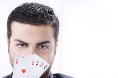 Portrait of man with poker cards Royalty Free Stock Photography