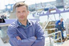 Portrait man on quayside Royalty Free Stock Photo