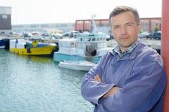 Portrait man on quayside Stock Photos