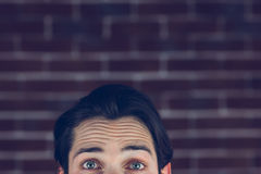 Portrait of man with raised eyebrows Royalty Free Stock Photo