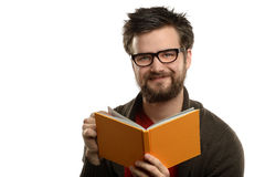 Portrait of Man Reading Book Stock Images