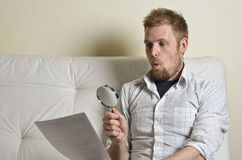 Portrait of a man reading a contract Royalty Free Stock Image