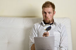 Portrait of a man reading a contract Royalty Free Stock Photo