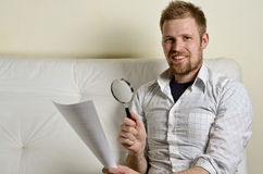Portrait of a man reading a contract Stock Photography