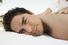 Portrait Of A Man Receiving Back Massage Stock Photos