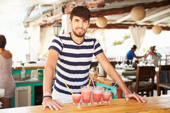 Portrait Of Man In Restaurant Making Fruit Smoothies Stock Images