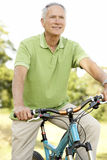 Portrait of man riding cycle in countryside Stock Photography