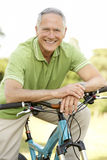 Portrait of man riding cycle in countryside Stock Photos
