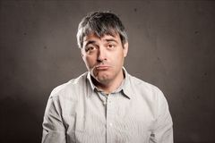 Man with sad expression. Portrait of man with sad expression Royalty Free Stock Photos