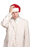Portrait of man in santa hat Stock Photography
