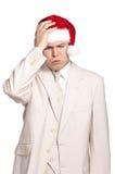 Portrait of man in santa hat Stock Photography