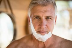 Portrait of man with shaving cream on his face. During safari vacation Stock Photo