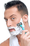 Portrait of man that shaving with foam Stock Images