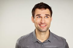 Portrait of a man at shirt stock images