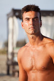 Portrait man shirtless, chest e serious expression. Outdoors Royalty Free Stock Photography