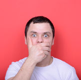 Portrait of man with shock gesture Royalty Free Stock Photo