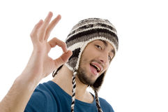 Portrait of man showing ok sign Royalty Free Stock Photography