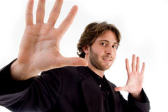 Portrait of man showing palms Royalty Free Stock Photography