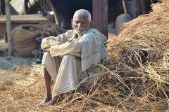 Portrait of man sitting in straw, at the Kumbh Mela Festival, Allahabad, India 2013 Stock Photography