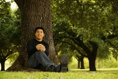 Portrait Of Man Sitting By Tree Stock Images