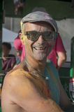 Portrait of man with smile at Colore Mulhouse 2017. MULHOUSE - France - 4 June 2017 - portrait of man with smile at Colore Mulhouse 2017, the annual running of Royalty Free Stock Photo