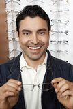 Portrait Of A Man Smiling At Spectacles Shop Stock Images
