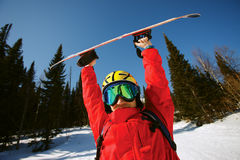 Portrait of a man with the snowboard Stock Photography