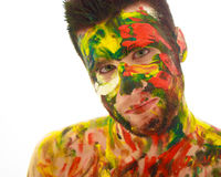 Portrait of man soiled in paint Royalty Free Stock Images