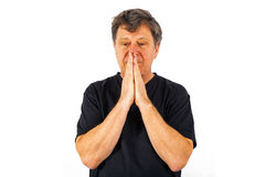 Portrait of man in sorrow. Portrait of man thinking and in sorrow Stock Photos