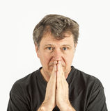 Portrait of man in sorrow. Portrait of man thinking and in sorrow Royalty Free Stock Photos