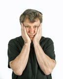Portrait of man in sorrow. Portrait of man thinking and in sorrow Stock Images