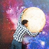Portrait of a man on a space background. Young man on the background of sky. Boy kiss the moon. Portrait of a man on a space background. Young man on the stock photo