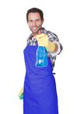 Portrait of a man with sponge and spray Stock Photos