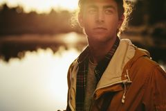 Portrait of a man standing outdoors stock images