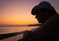 Portrait of a man at sunset Royalty Free Stock Photos